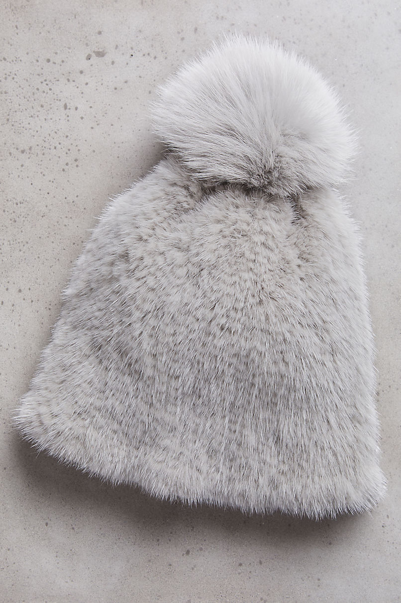 Knitted Mink Beanie Hat with Fox Fur Pom