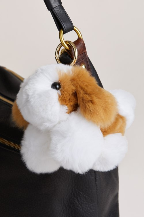 Rex Rabbit Fur Dog Keychain