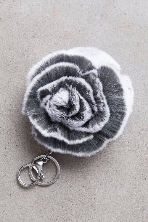 Rex Rabbit Fur Double Flower Keychain