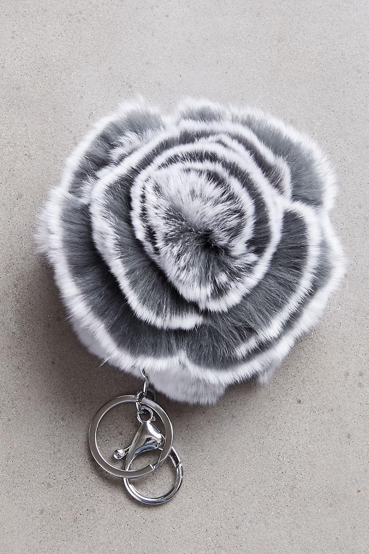 Rex Rabbit Fur Double Flower Keychain