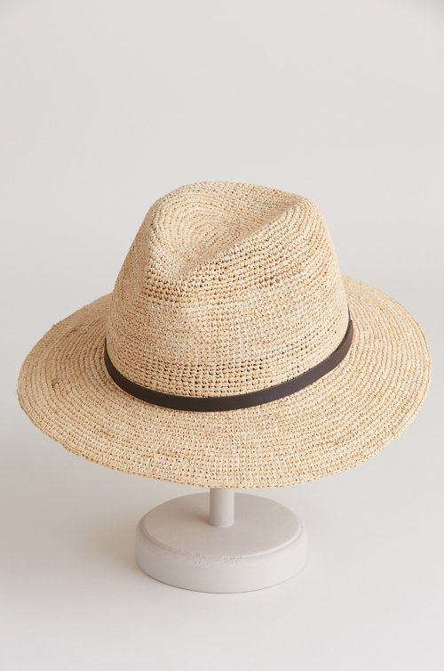 Destin Packable Crocheted Raffia Fedora Hat