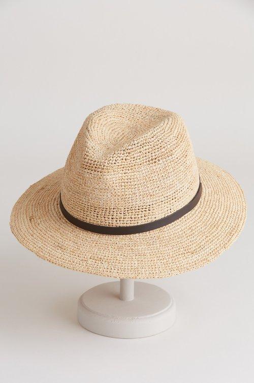 Destin Packable Crocheted Raffia Fedora Hat