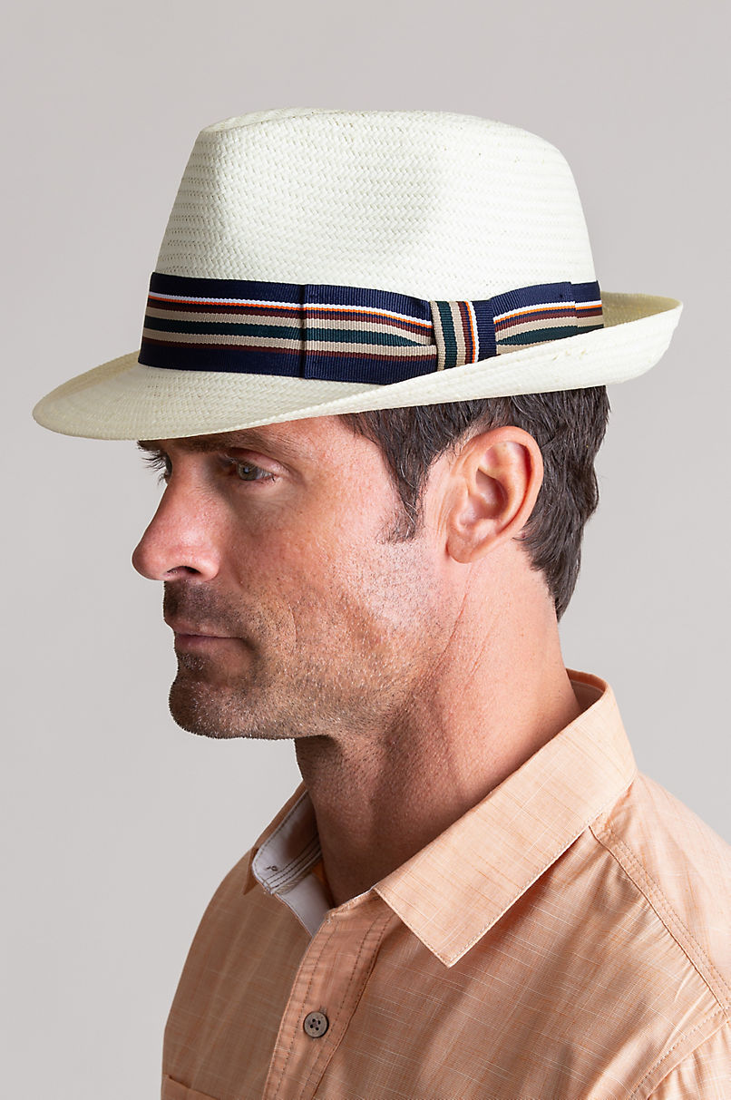 Vincent Toyo Straw Fedora Hat with Striped Hatband