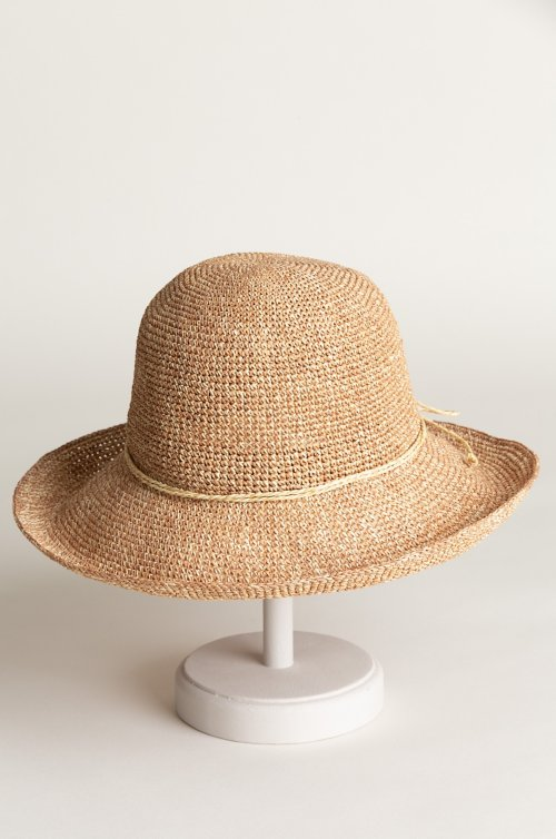 Meredith Crocheted Toyo Straw Floppy Hat