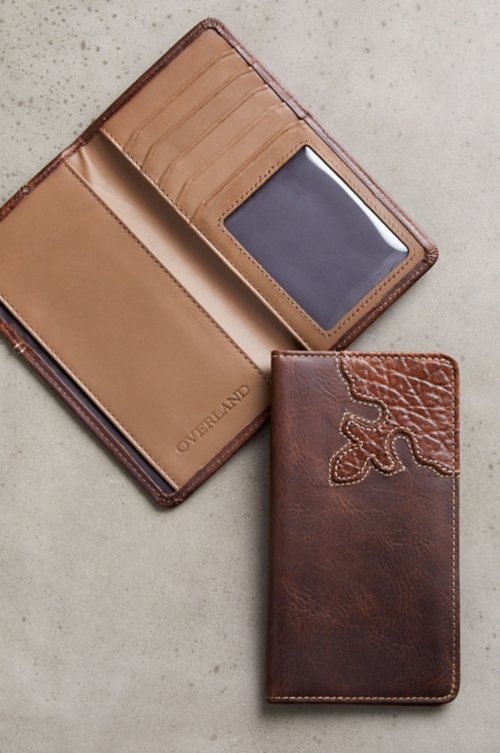 Bison Leather Checkbook Wallet