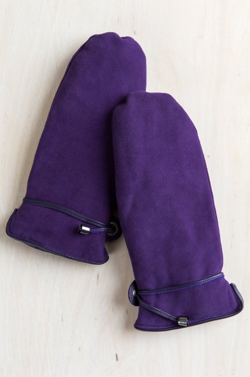 Women's Ali Wool-Lined Deerskin Suede Leather Mittens with Finger Liners