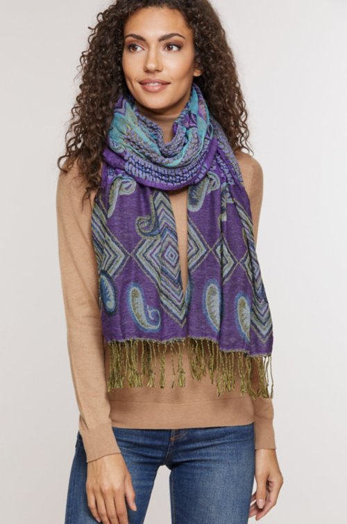 Ruched Cotton-Blend Scarf