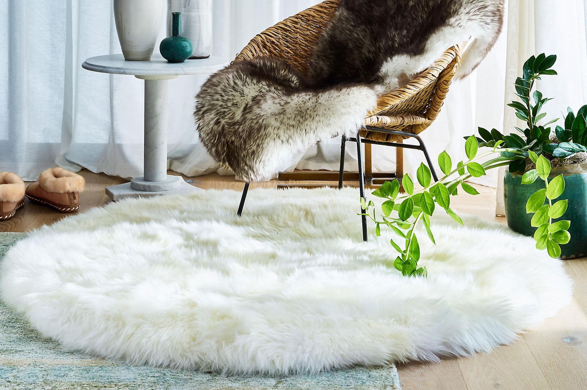 4' Round Premium Australian Sheepskin Area Rug