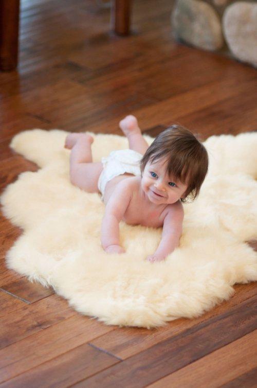 Long Wool Sheepskin Baby Rug