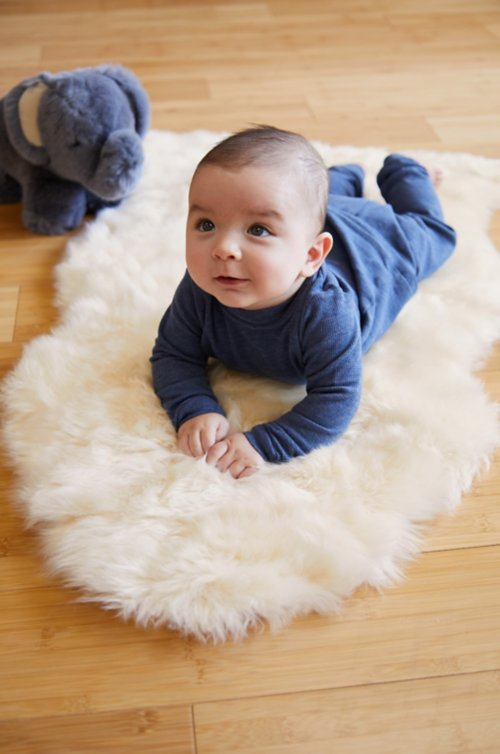 Long Wool Sheepskin Baby Rug