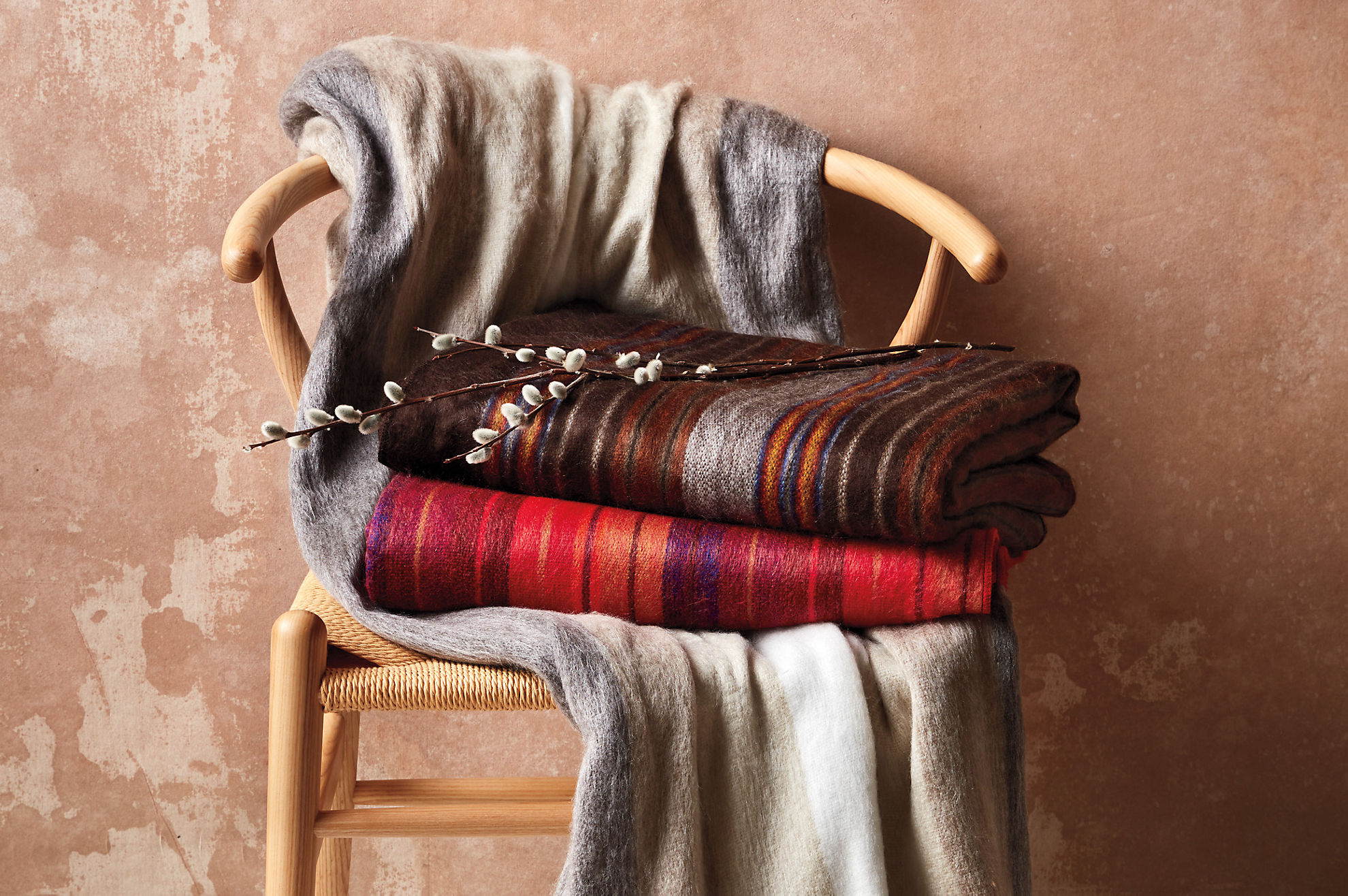 Striped Alpaca Wool-Blend Throw Blanket