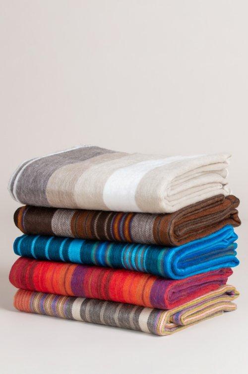 Striped Alpaca Wool-Blend Throw Blanket