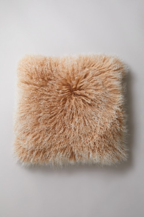 "20"" x 20"" Single-Sided Tibetan Lamb Fur Pillow"
