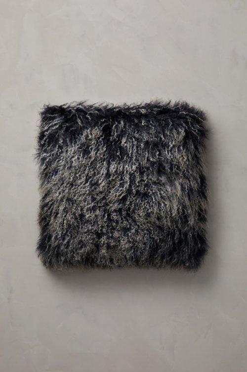 "20"" x 20"" Single-Sided Tibetan Lamb Fur Pillow"