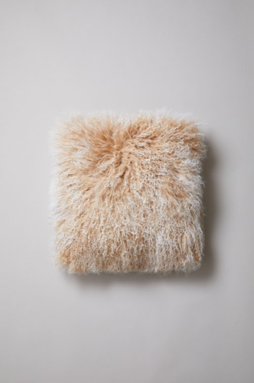"16"" x 16"" Single-Sided Tibetan Lamb Fur Pillow"