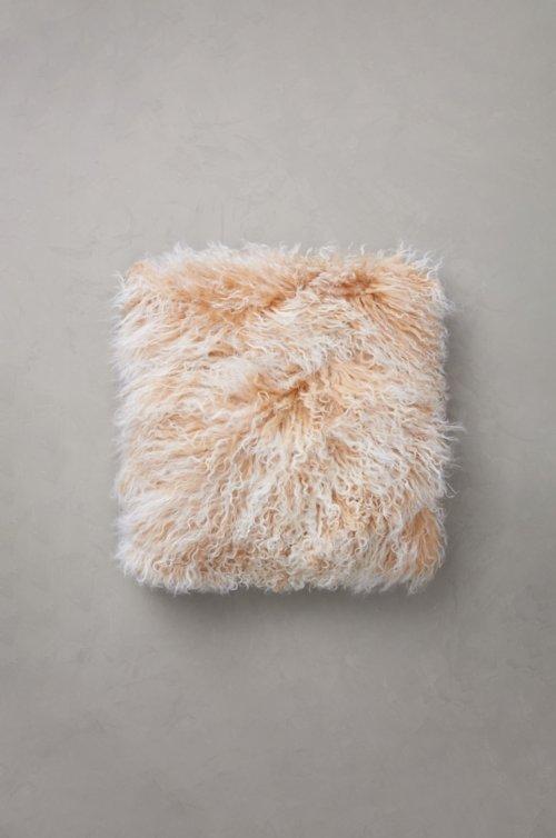 "16"" x 16"" Single-Sided Tibetan Lamb Fur Pillow"
