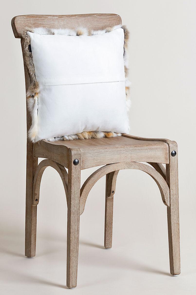 "16"" x 16"" Single-Sided Rabbit Fur Pillow"