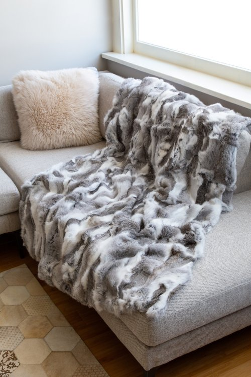 Snow Queen Rabbit Fur Throw Blanket