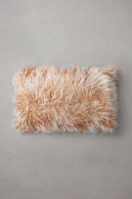 "20"" x 12"" Single-Sided Tibetan Lamb Fur Pillow"