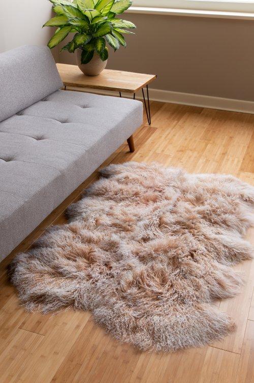 4-Pelt (4' x 6') Tibetan Lamb Fur Rug