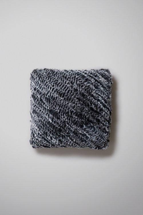 "15"" x 15"" Single-Sided Knitted Rex Rabbit Fur Pillow"