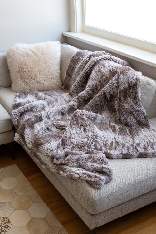 Winter Frostine Knitted Rex Rabbit Fur Throw Blanket