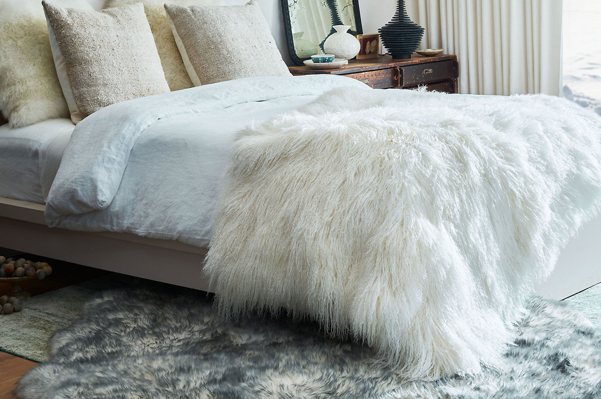 Polar Dreams Tibetan Lamb Fur Throw Blanket