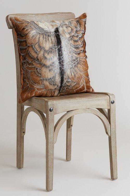 "20"" x 20"" Antika Cascara Etched Goat Hide Pillow"