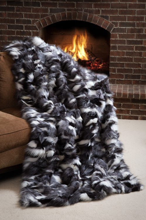 Winter Twilight Platinum Fox Fur Throw Blanket