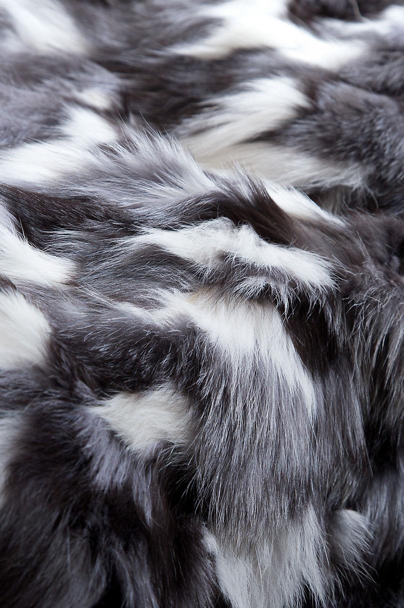 Winter Twilight Platinum Fox Fur Throw Blanket