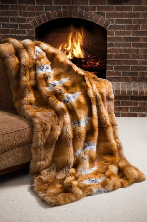 Nordic Embers Red Fox Fur Throw Blanket