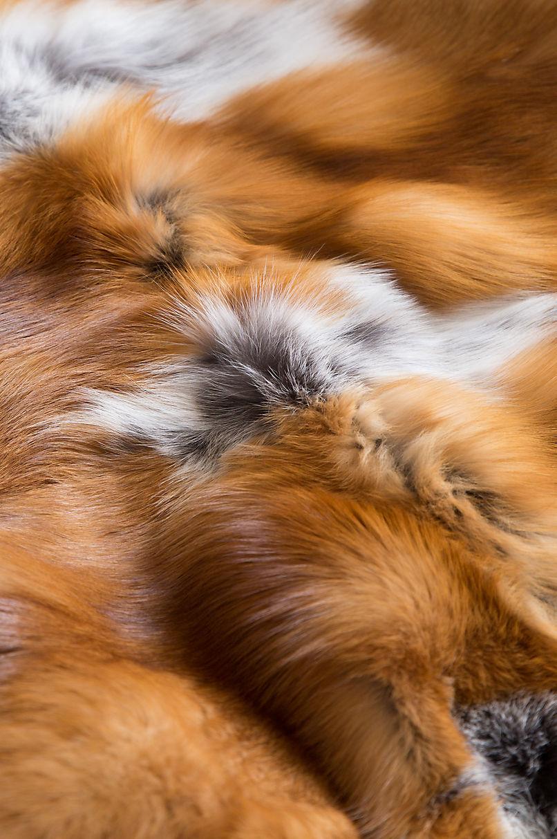 Nordic Embers Red Fox Fur Throw Blanket