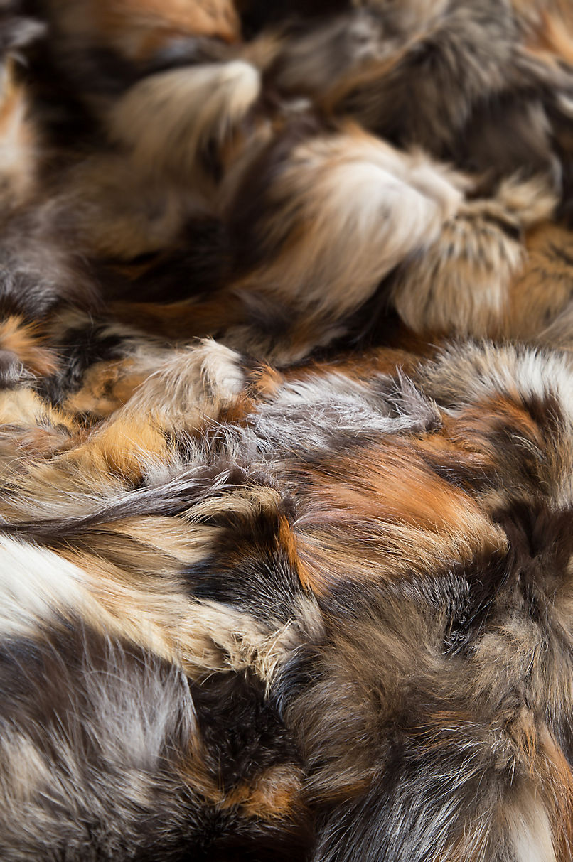Royal Hearth Cross Fox Fur Throw Blanket