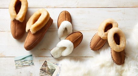 Sheepskin slipper display