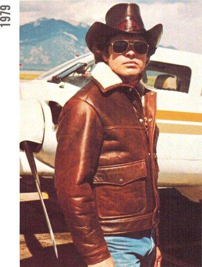 Pilot in bomber jacket, 1979