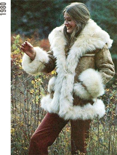 Woman in sheepskin coat, 1980