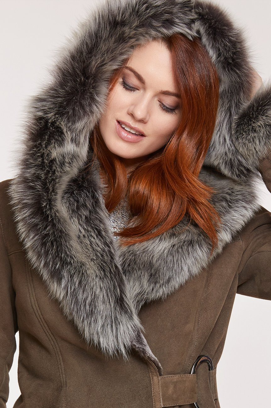 Woman in Hooded Sheepskin Coat