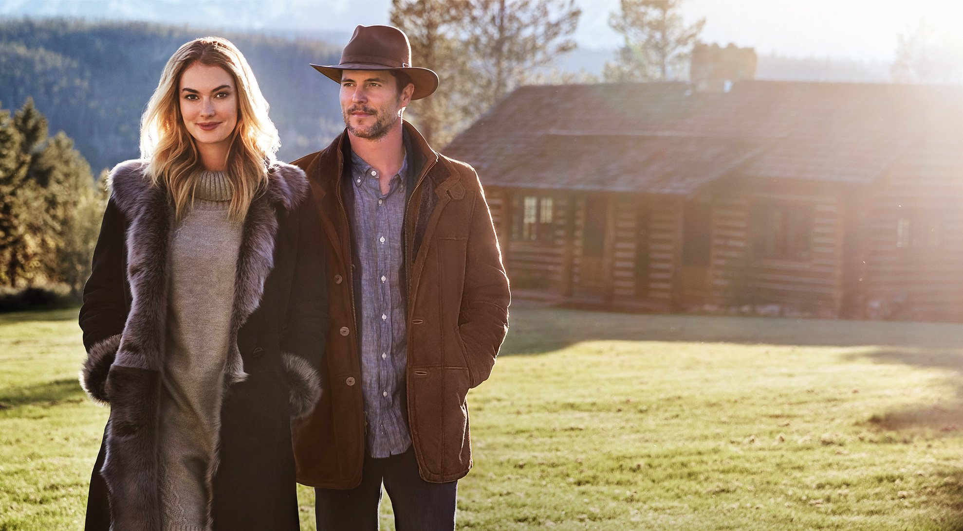 Man and Woman in Sheepskin Coats
