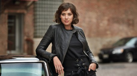 Woman wearing leather jacket