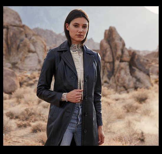 woman in long leather coat