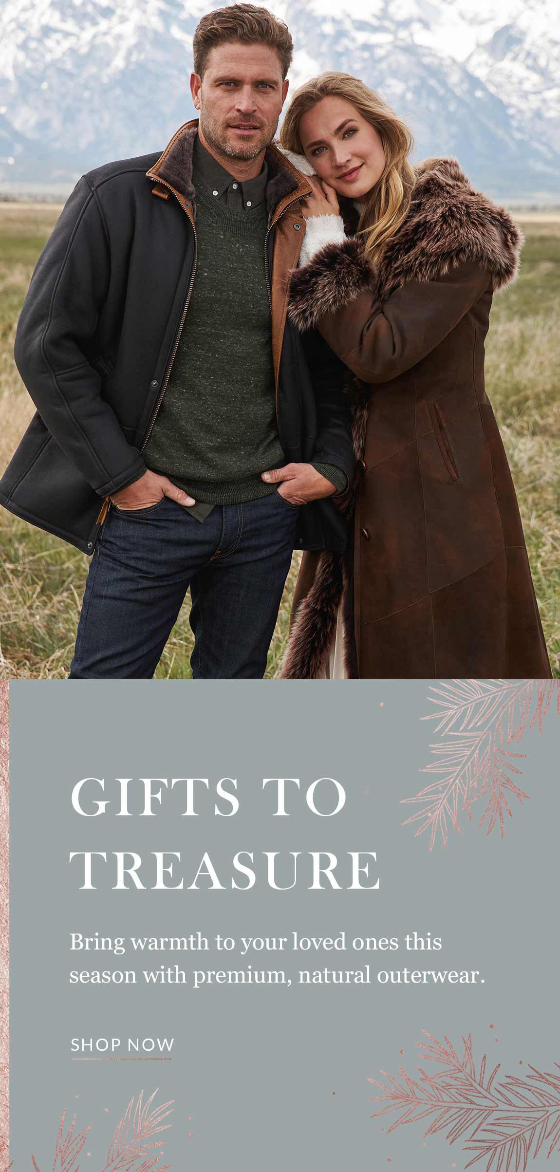 Couple wearing sheepskin coats