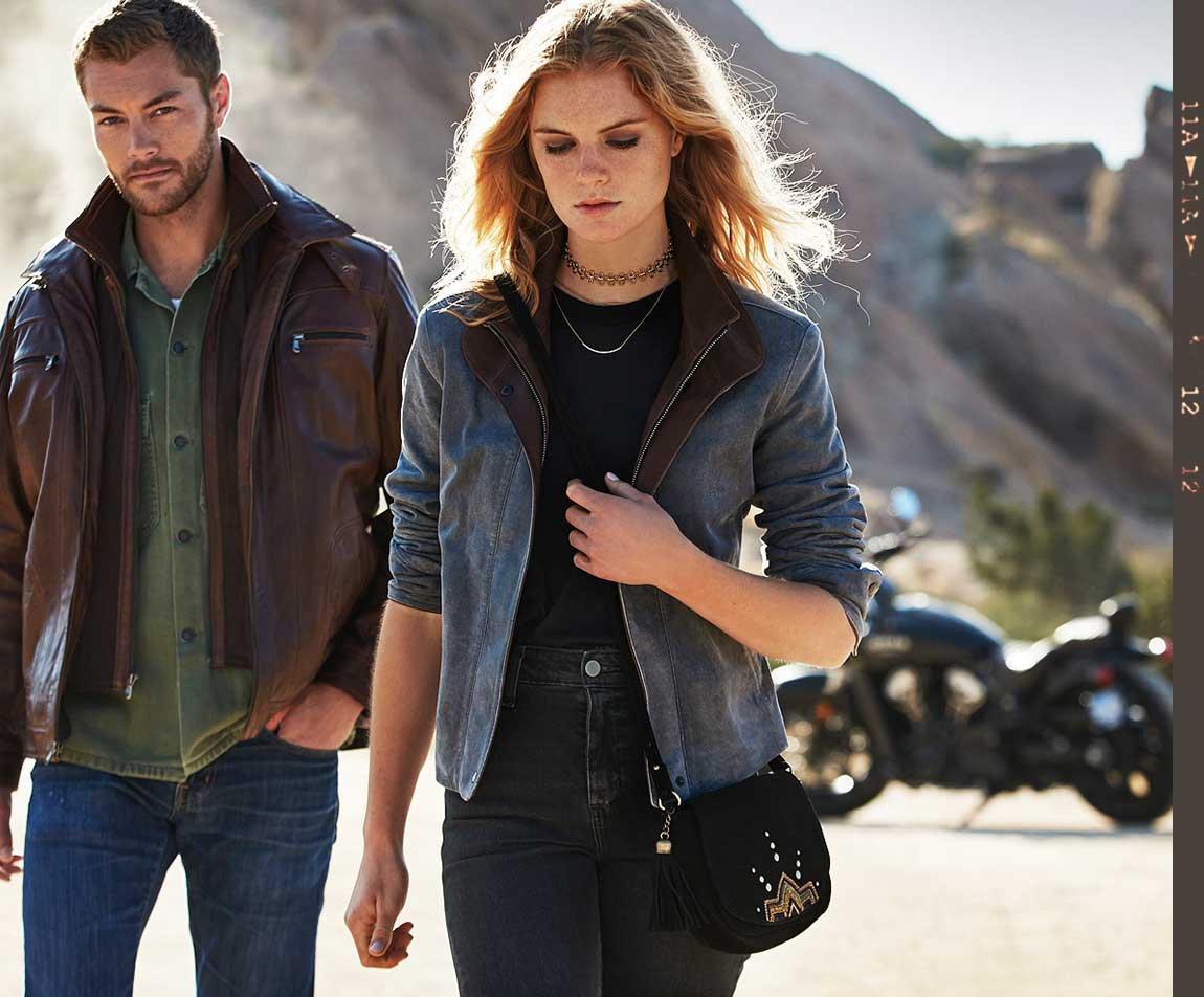 Couple wearing leather jackets
