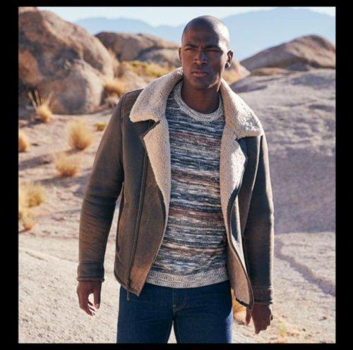 Man in sheepskin coat